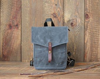 Mini Backpack, Grey Wax Canvas Backpack