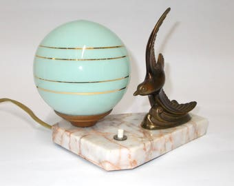 Sea Bird Table Lamp. Vintage French Mood Lamp. Marble based Desk Light. Spelter Sea Bird Lamp on Marble Base. Green & Gold Glass Shade.