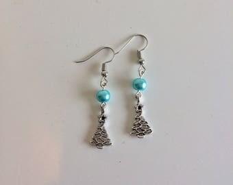 Christmas trees blue beads earrings