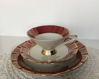 Vintage red and gold bavarian teacup and saucer with pastry plate
