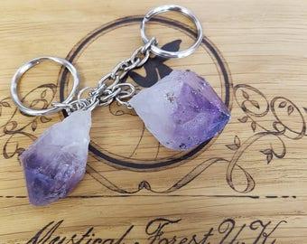 Amethyst keyring, Amethyst Crystal Point Keyring, Crystal Keyring, Crystal Healing, Raw Crystal Point, Higher Self, Reiki Healing