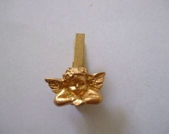x 4 mini clothespins with Angel Gold for table decor, gift creations