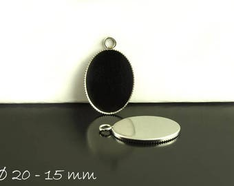 Stainless steel cabochon version 20 x 15 mm, silver