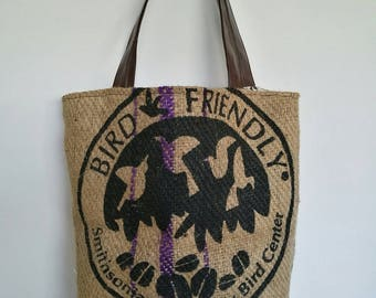 Faux leather and recycled coffee bag tote bag