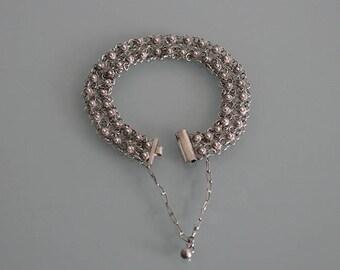 Vintage Sterling Silver Link Bracelet, Sterling Silver Chainmaille Bracelet