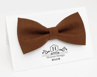 Brown Linen Bow Tie For Wedding / Festival | Bow Tie For Groomsmen, Boy's, Toddler's Baby's Brown Bow Tie