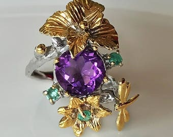 Dragonfly Dream' Amethyst Emerald 14kt Gold Silver ring Size 9