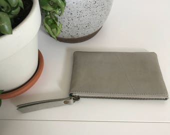 Leather pouch - small - bone grey soft leather