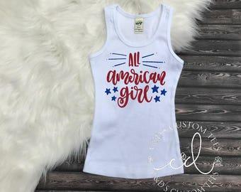 All American Girl Tank - Merica Shirt - Girls 4th of July Shirt - Girls Merica Shirt - 4th Of July Shirt - Patriotic Tank