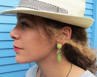 Earrings clips Green Jade (made in France)