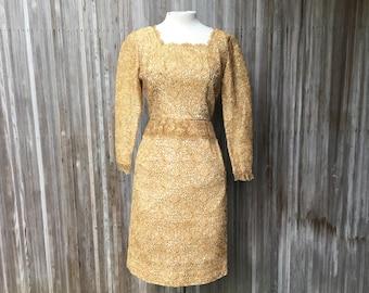 1960s Metallic Gold Lace Dress