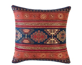 KILIM PILLOW Cover - Turkish Pillow -Tribal Pillow Cover -Ethnic Pillow Cover -Geometric Pattern -Orange and Navy Pillow -Kilim Throw Pillow