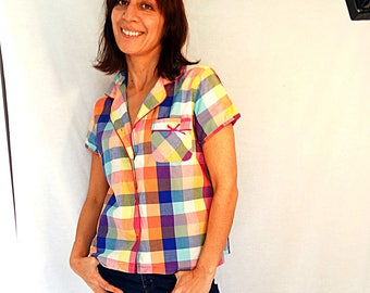 Colorful cotton shirt graph check gingham simple summer top short sleeved shirt womens sumer top red orange yellow vintage size Medium