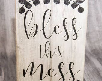 Bless This Mess | Wood Sign | Farmhouse Home Decor | Entryway Sign | Rustic Wall Decor | Wall Hanging | Fun Gift For Mom |  Country Decor