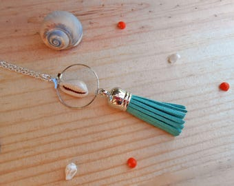 Necklace minimalist shell and green pomon gift party a great day, Easter