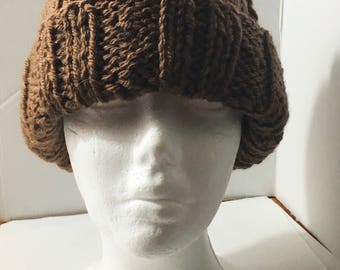 Chunky Ribbed Slouchy Mock Cable Knitted Beanie Hat Walnut Brown Large Size
