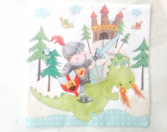 set of 2 dragon Knight napkins