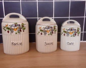 French vintage Art deco Spice jar set