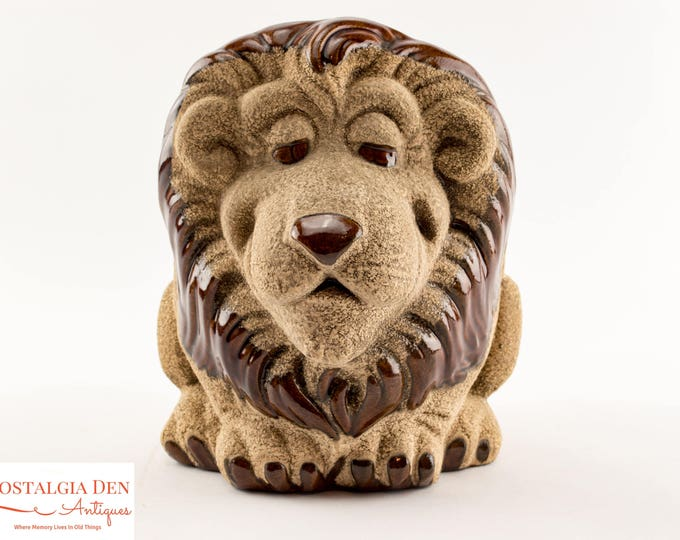 Indoor Planter | Vintage Pottery Decor | Royal Haeger Sand Glaze Lion