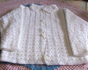 white jacket mixed 4/5 years crochet handmade