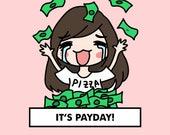 PAYDAY Raining Money Stickers  / planner stickers, payday planner stickers, money stickers, pay bill stickers, raining money, income / SD21