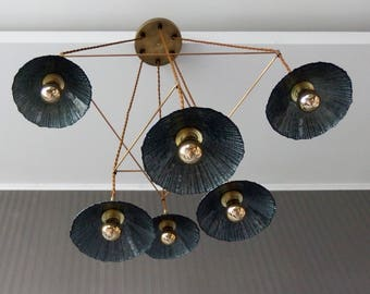 Boho chic pendant chandelier with amaizing blue-grey translucent glass shades and brass accesories