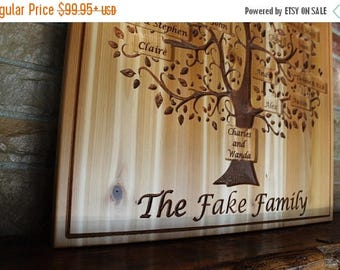 Back to School Sale custom family tree wall art, grandparent gift, personalized family name sign, Mother's day gift, hand carved wood wall a