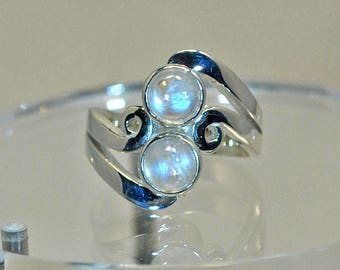 Sterling silver ring with blue moonstone settings