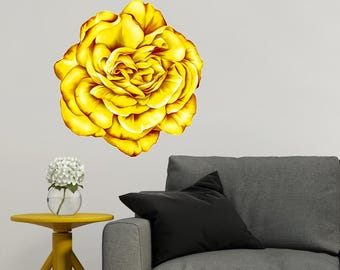 Rose Wall Decal Rose Wall Decor Yellow Rose Flower Wall - Yellow flower wall decals