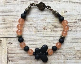 Orange and black Butterfly boho beaded bracelet