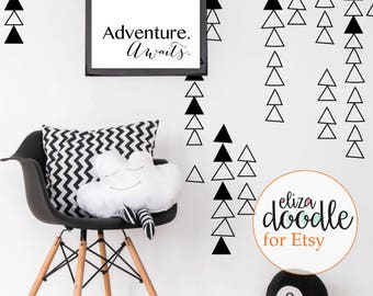 Triangle wall decals / wall stickers / triangles girls bedroom / triangle boys bedroom / removable vinyl stickers / fake wallpaper