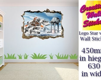 Lego Star Wars wall sticker Kids Bedroom hole in wall effect wall decal mural.