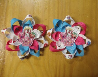 """Set of Shopkins Handmade Loopy Hair Bows Pigtails 3.25"""" each- Girls - on Lined Alligator Hair Clips"""