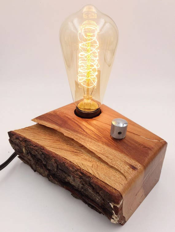 Hurricane Hugo Cherry Wood Block Desk Lamp with Telecaster Knob and Edison Bulb. Charlotte!
