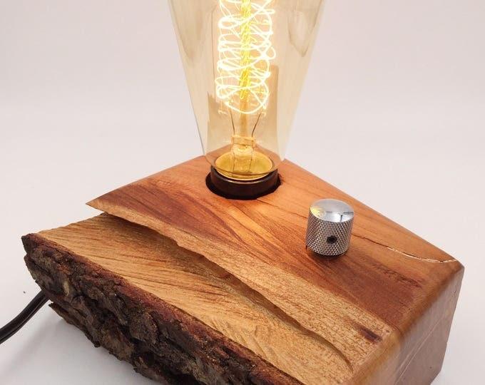 Hurricane Hugo Cherry Wood Block Desk Lamp with Telecaster Knob and Edison Bulb. Charlotte!