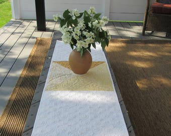 Made to Order: Yellow and White Table Runner - Quilted - USA