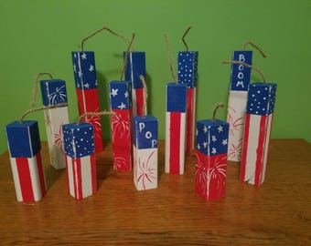 4th of July Fireworks! Wooden 2x2 hand painted red white and blue fireworks for your party decor