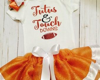 UT tutu set, burnt orange tutu, University of Texas tutu, baby tutu set, ribbon trimmed tutu, Texas longhorns tutu