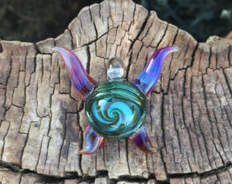 Spiral Eyed Monster ~ Glass Pendant ~ Heady Necklace ~ Handmade by Linny Lou Lampworks