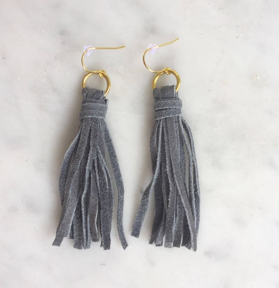 Earbobs - Grey Suede Tassel