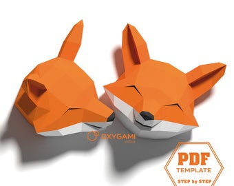 Low poly dragon 3d papercraft dragon diy dragon do it fox papercraft 3d animal wall decor 2 fox head patterns with simple instructions pronofoot35fo Gallery