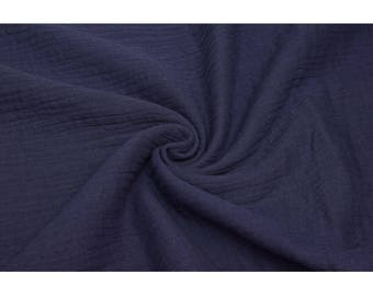 Swaddle Muslin Fabric - Solid in Navy Blue - Double Gauze Fabric - UK Seller