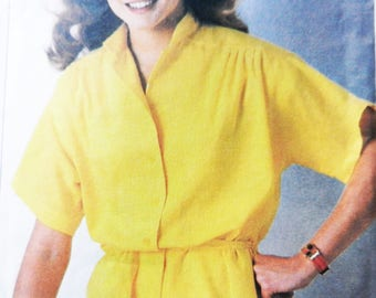 Misses 1970's Vintage Top and Tie-Belt, Simplicity 8968 Sewing Pattern, Size 12-14-16, ESP - Extra-Sure Pattern