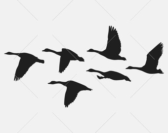 realistic flying flock geese stencils silhouettes monogram black vector clip art