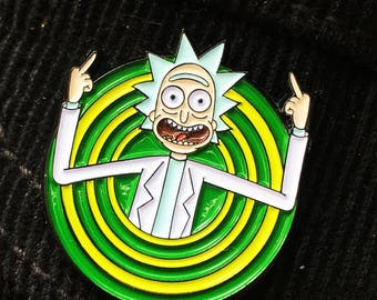 "Rick Sanchez Peace Among Worlds soft enamel pin 1.25"" + Rick and Morty sticker pack 35 pcs"
