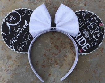 Here Comes the Bride Minnie Ears! Bride Mickey ears,  Wedding mickey ears, honeymoon ears,  Other Colors Available!
