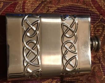 Celtic Knot Pewter Flask
