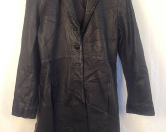 Womens Full Leather Trench Coat Size 8