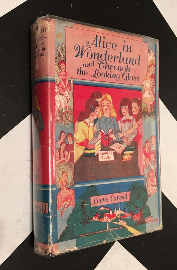 Alice in Wonderland and Through the Looking Glass by Lewis Carroll pink vintage classic children's book (Hardcover)