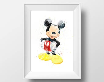 Wall Art Watercolor Mickie Mouse Print,Mickie Mouse Print,Watercolor Disney ,Nursery Print,Printable Disney,Baby Gift,Room Decor,Party Decor